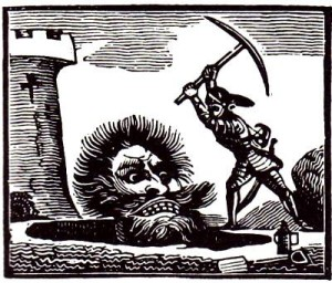 Woodcut from an 1840 edition of Jack the Giant Killer, reprinted in Iona and Peter Opie's The Classic Fairy Tales